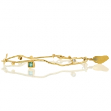 Organic Gold Bracelet with Emerald and Diamonds Image