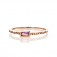 Rose Gold Pink Sapphire Baguette Ring Image