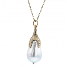 Baroque Pearl White Gold Pave Necklace Image