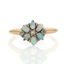 Antique Victorian Gold Opal and Diamond Flower Ring Image