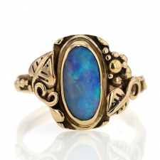 Vintage Black Opal 14k Gold Ring Image