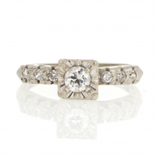 White Gold Solitaire Diamond Vintage Ring Image