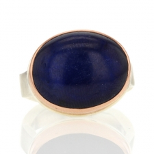 Blue Sapphire Silver and Rose Gold Ring Image