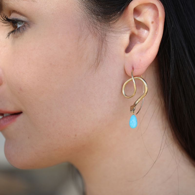 Serpent Earrings with Diamond Eyes and Turquoise Drops