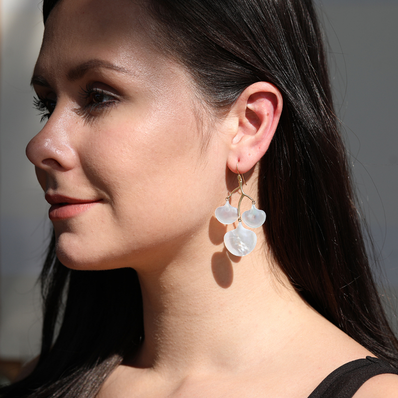 Mother of Pearl Ginko Branch Gold Earrings