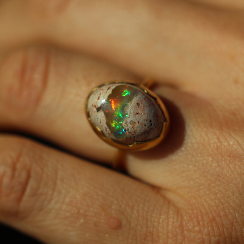 Annette Ferdinandsen Mexican Matrix Opal Gold Egg Ring at Voiage