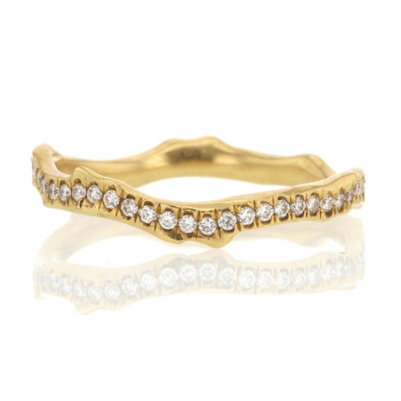 Annette Ferdinandsen 18k Yellow Gold Coral Stick Pave Diamond Ring
