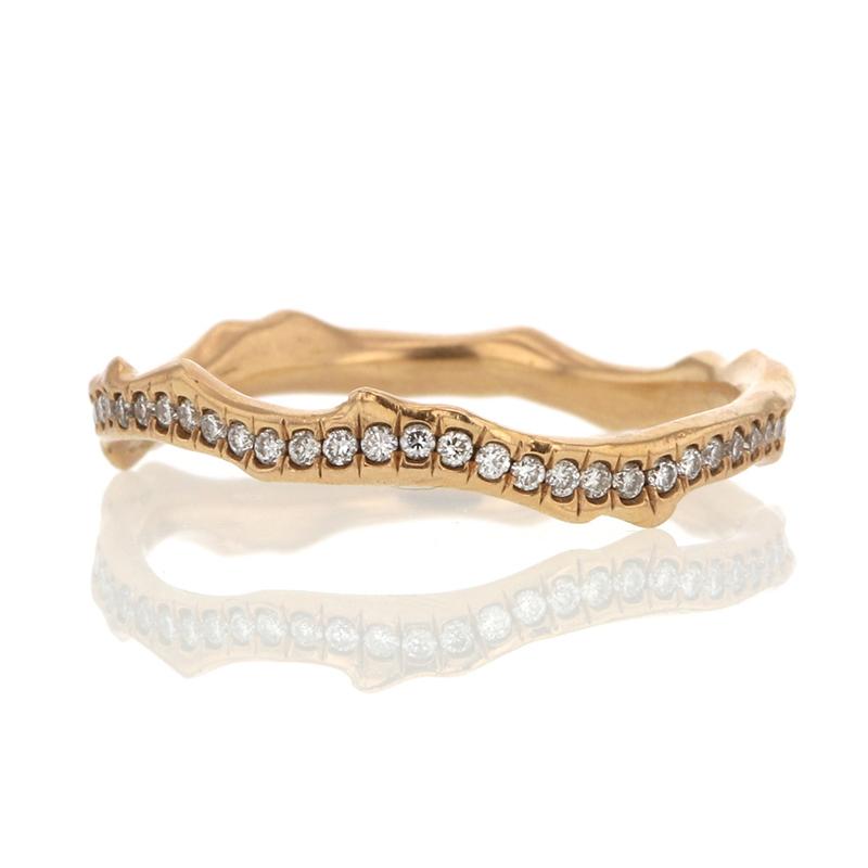 Annette Ferdinandsen 18k Rose Gold Coral Stick Pave Diamond Ring
