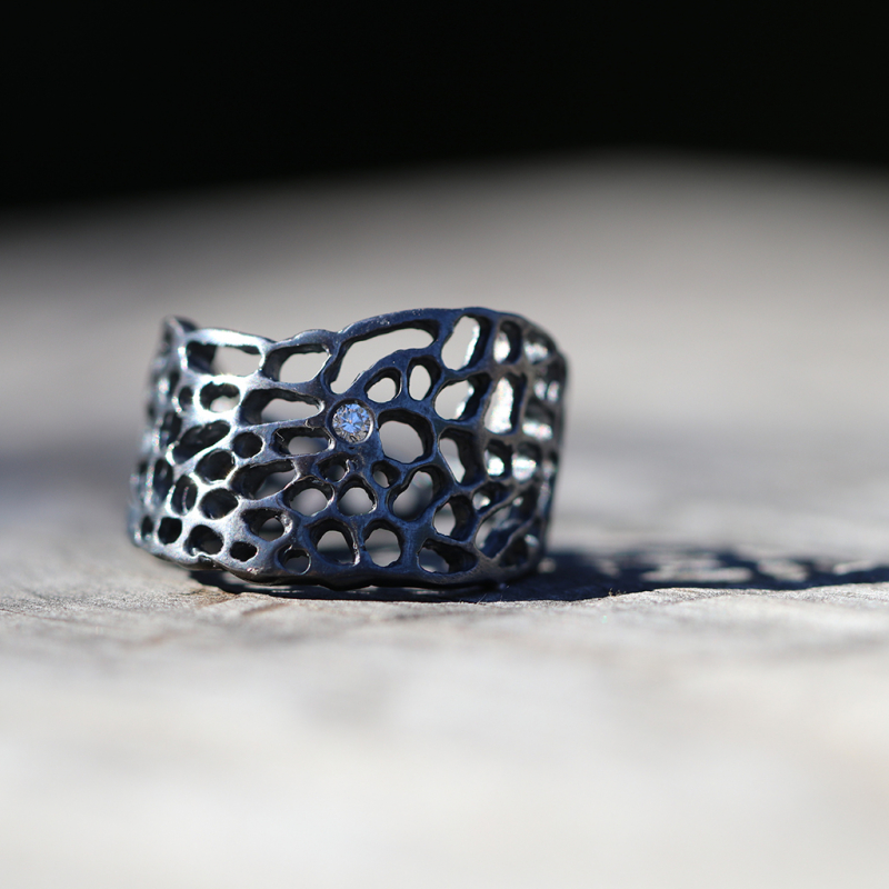 Oxidized Sterling Silver Sea Fan Ring