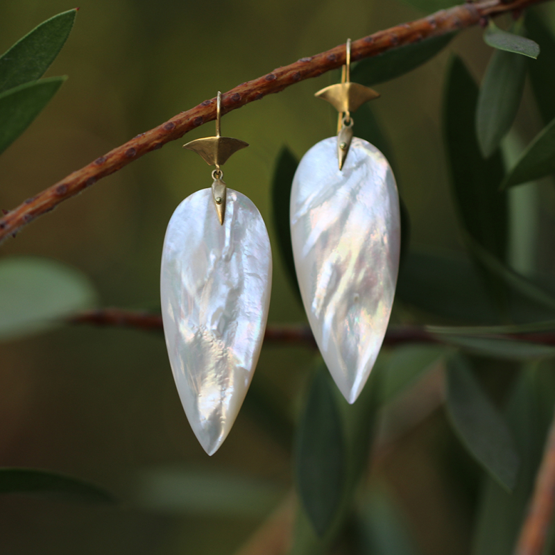 Mother of Pearl Long Arrowhead Drop Earrings