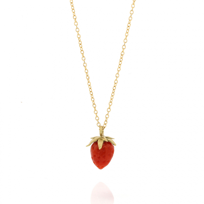 Gold Coral Strawberry Coral Pendant Necklace