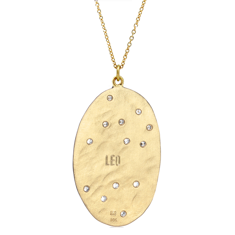 Leo 14k Gold Diamond Constellation Astrology Necklace