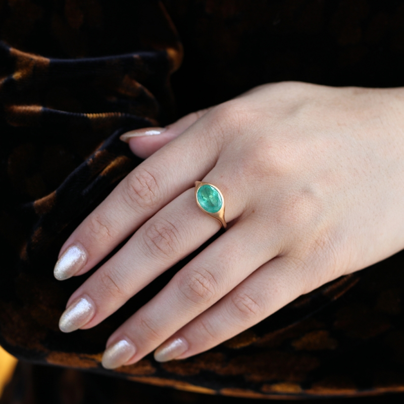 Sculptural Emerald 18k Rose Gold Ring