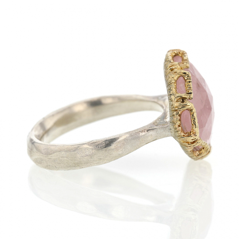 Morganite Silver and 14k Gold Lace Ring