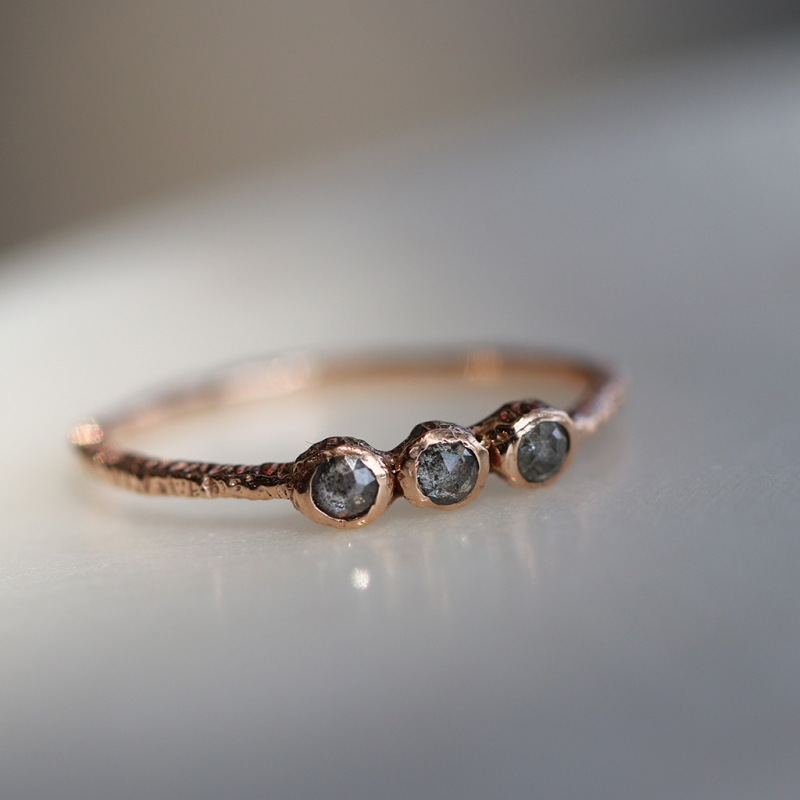 Triple 14k Rose Gold Brownish Grey Diamond Ring