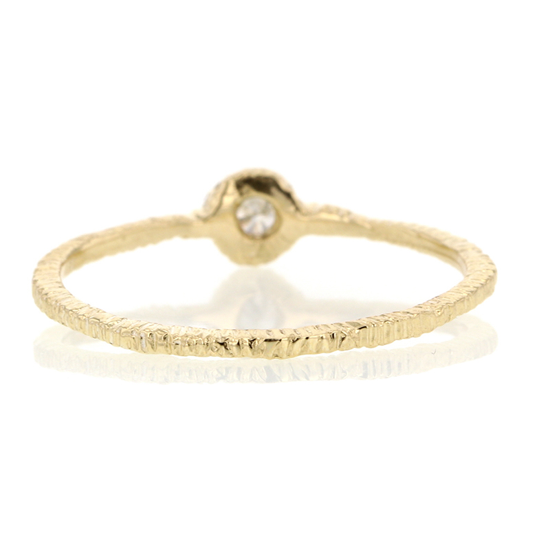 Gold Etched Band with 2.4mm Diamond