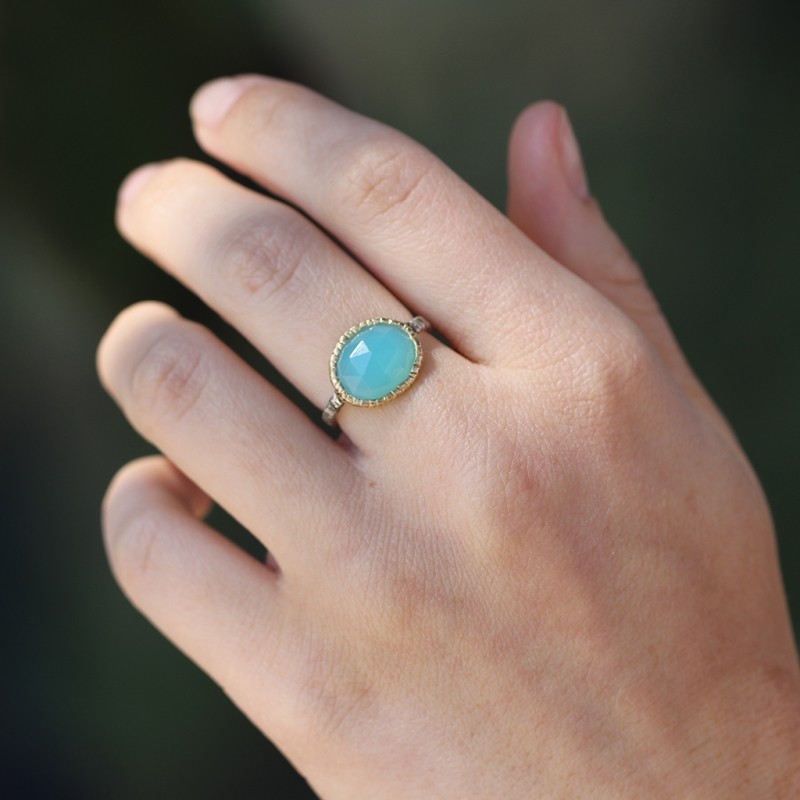 Silver and Gold Aqua Chalcedony Ring
