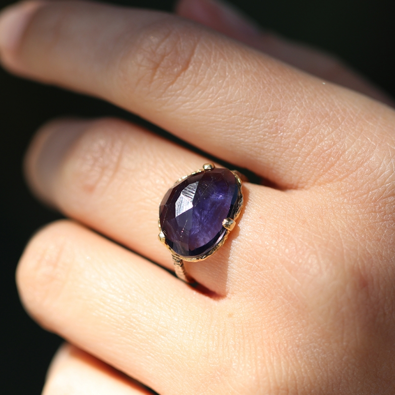 Asymmetrical Iolite Prong Ring