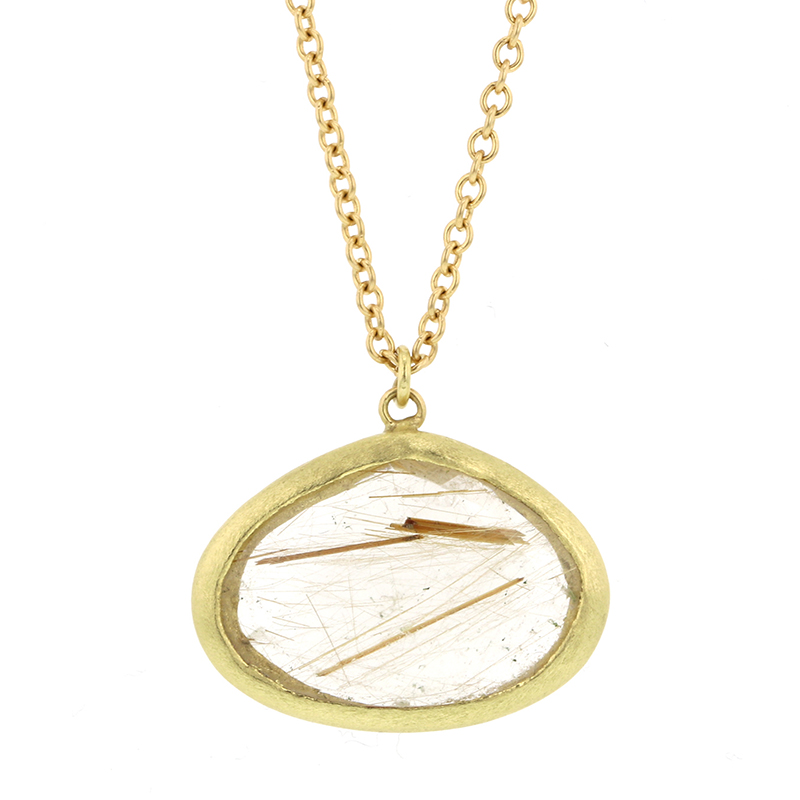 Isabel borland rutilated quartz 18k gold necklace at for Golden rutilated quartz jewelry