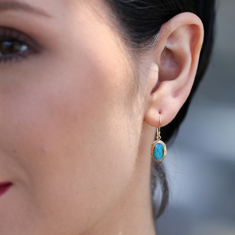 Jamie Joseph Boulder Opal Gold Oval Earrings At Voiage