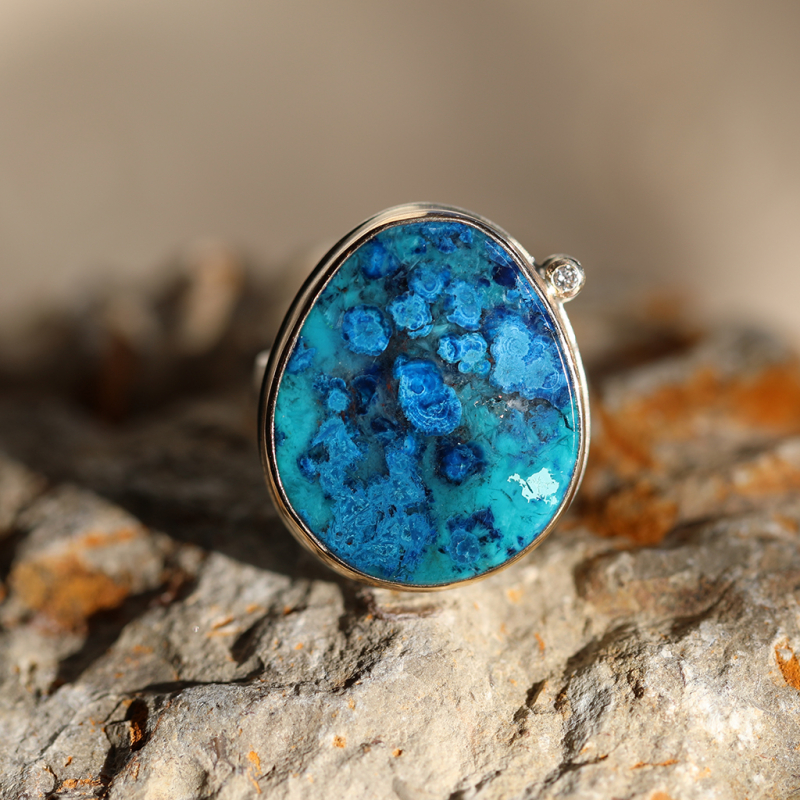 Azurite and Chrysocolla Asymmetrical Ring with Diamond