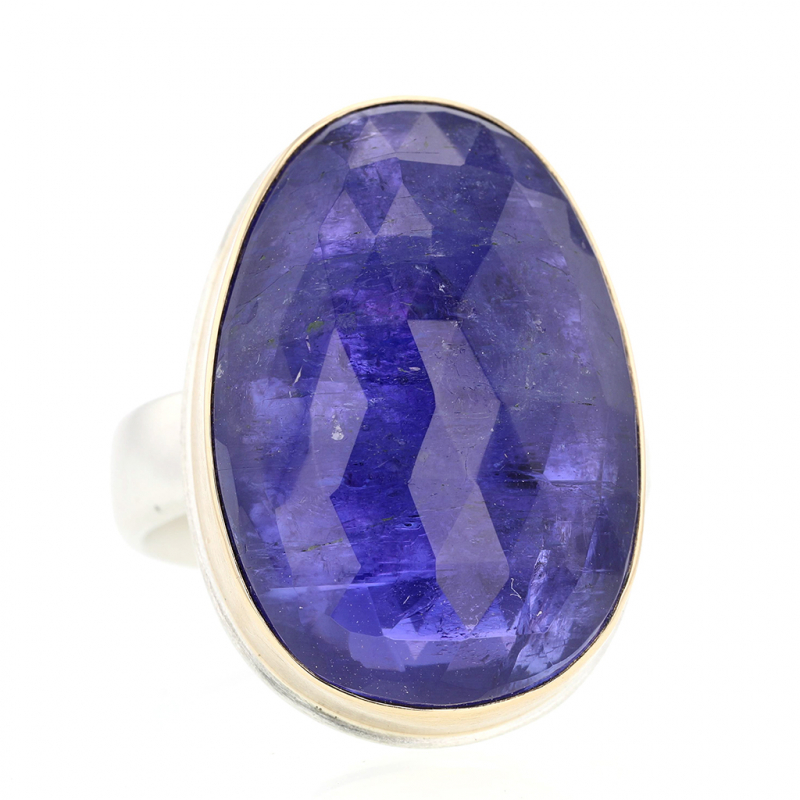 Vertical Rose Cut Tanzanite Ring