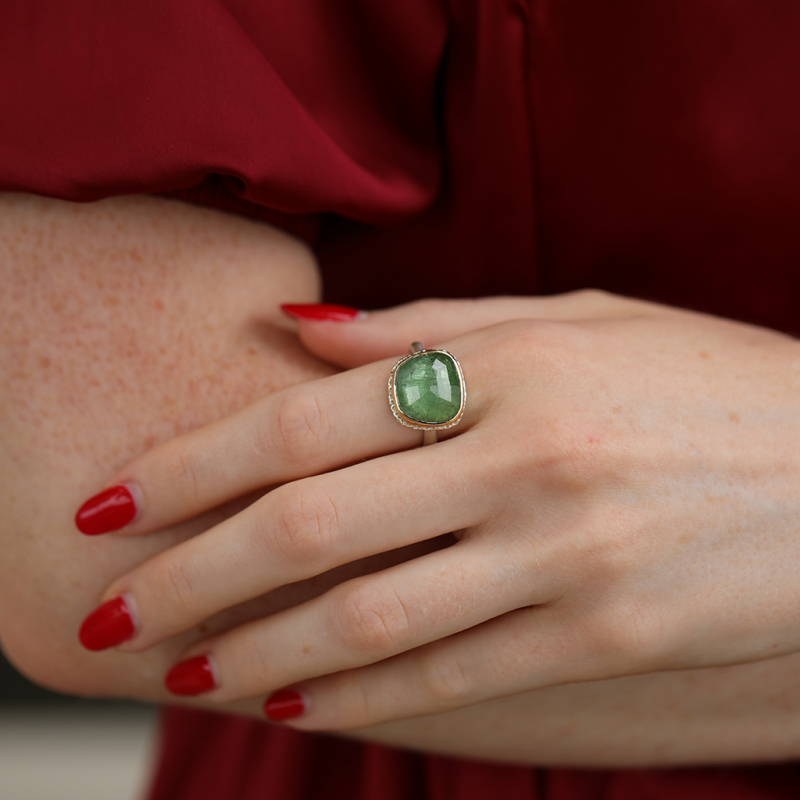 Green Tourmaline Silver and Gold Ring