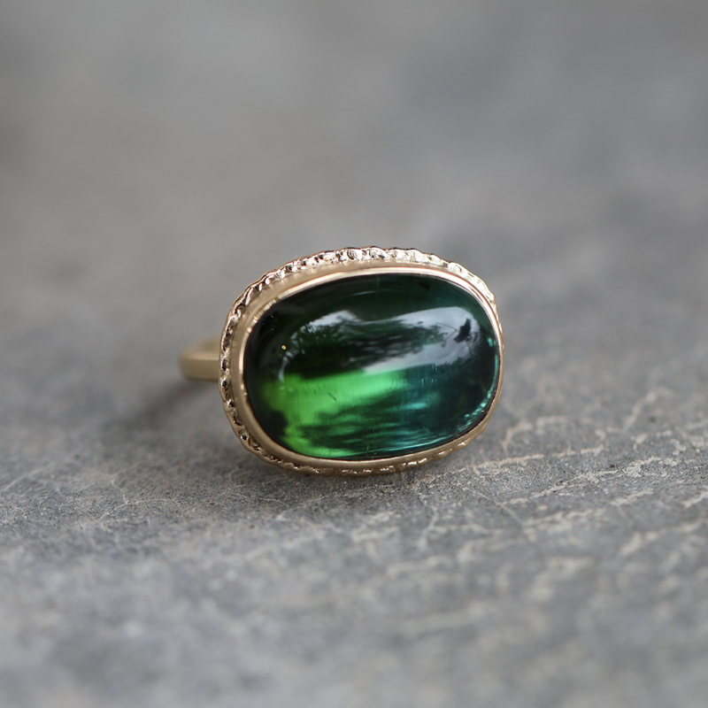 Ombre Blue Green Tourmaline Gold Ring