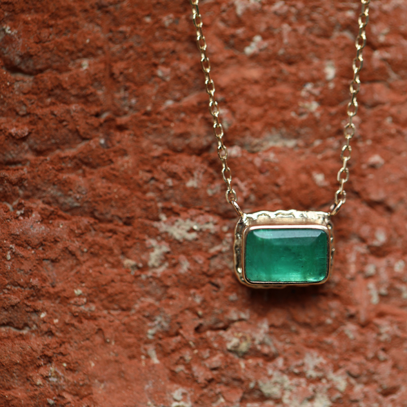 Small Emerald All 14k Gold Necklace