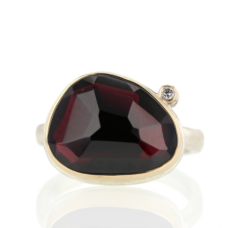 Asymmetrical Garnet Ring with Satellite Diamond