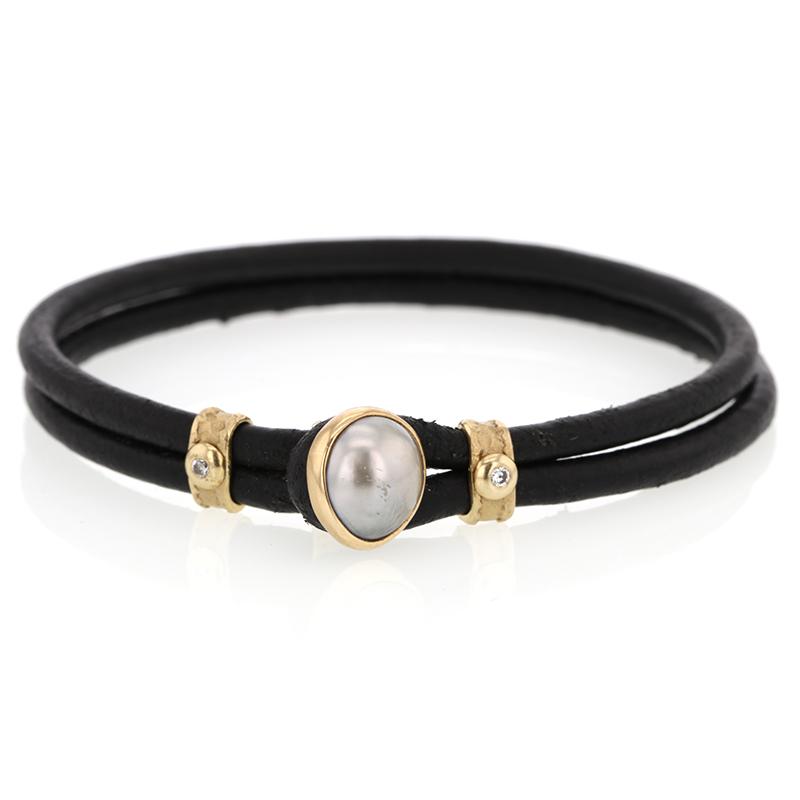 Tahitian Pearl And Diamond Cord Bracelet
