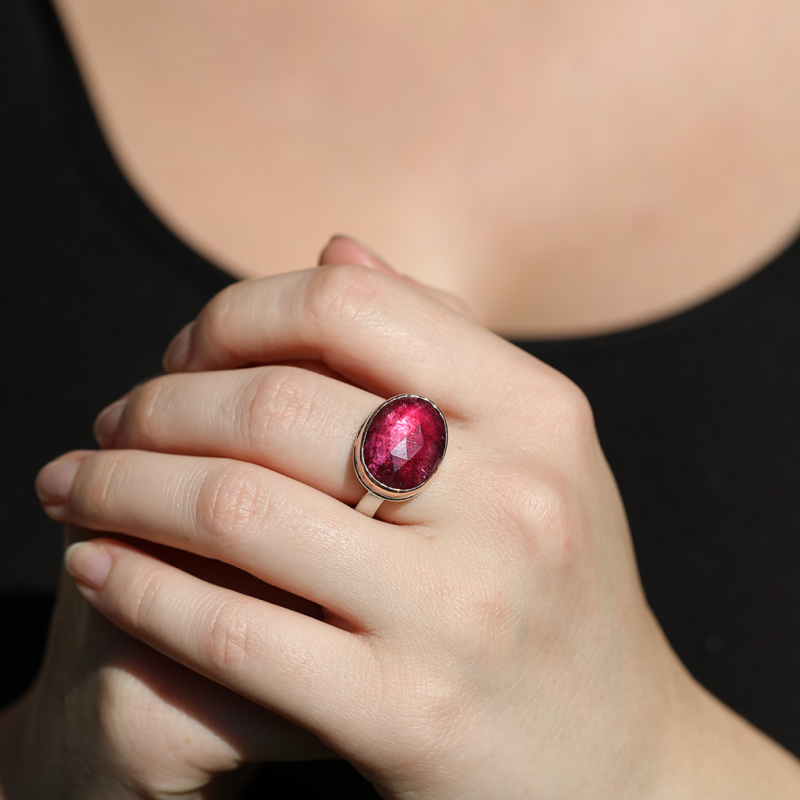 Oval Rose Cut Deep Pink Tourmaline Rose Gold  and Silver Ring