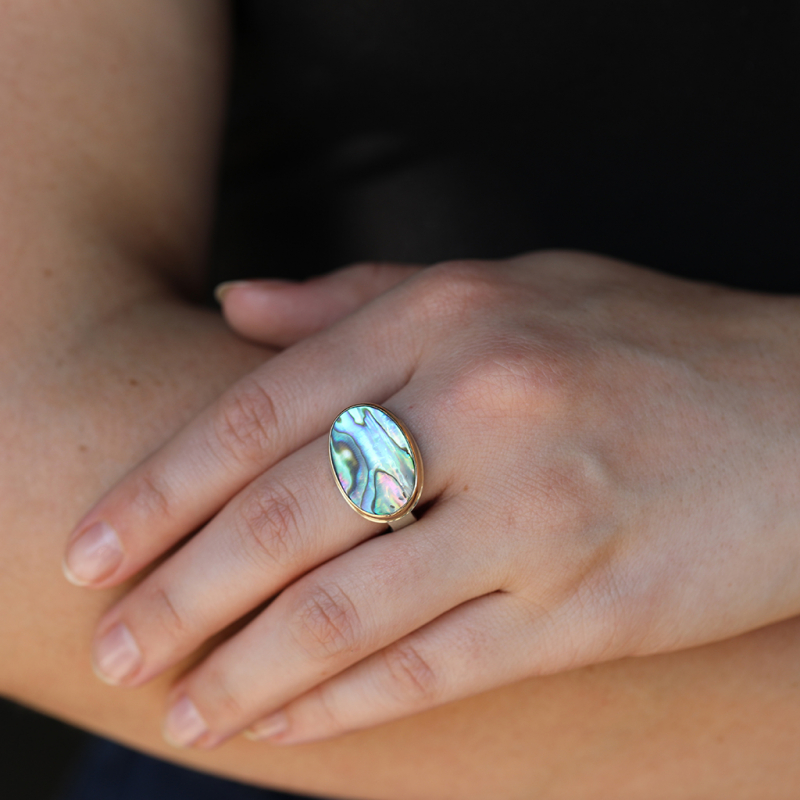 Oval Abalone Silver and Gold Ring