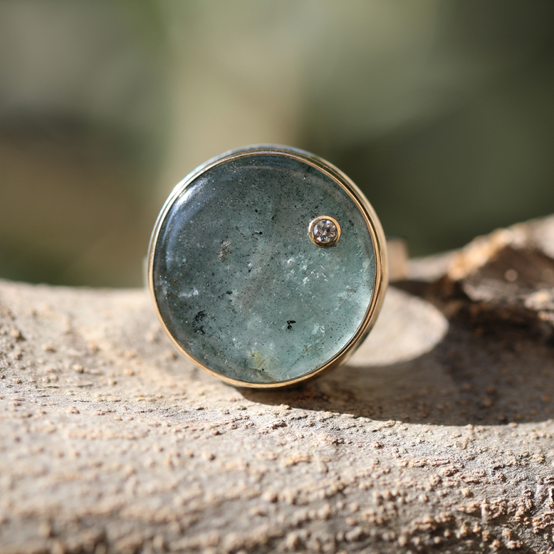 Round Moss Aquamarine with Diamond Ring