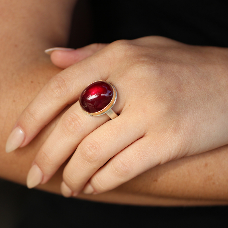 Vertical Smooth African Ruby Ring