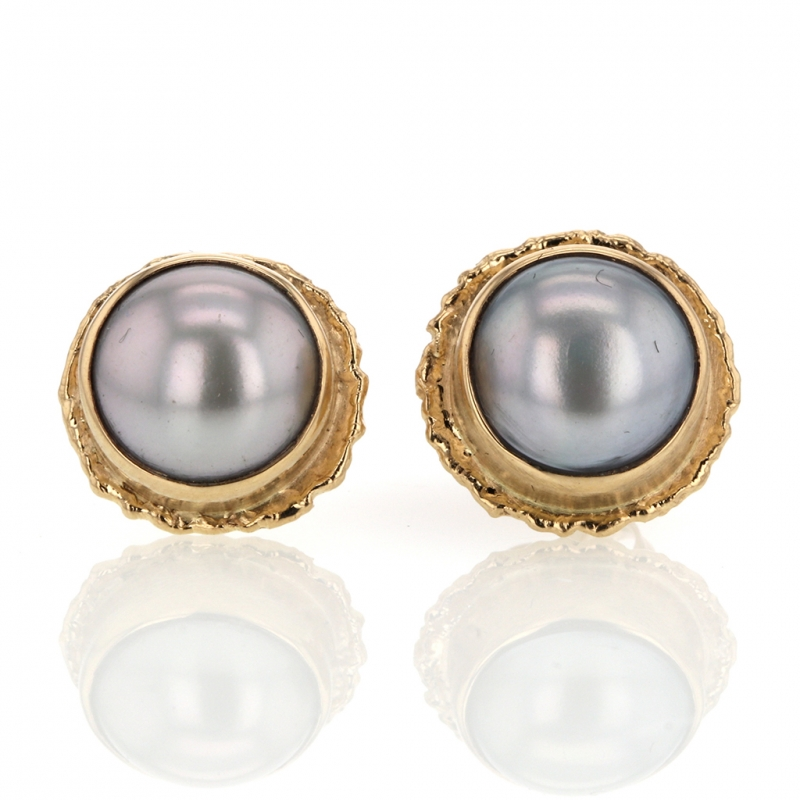 Large Round Grey Cultured Pearl Post Earrings