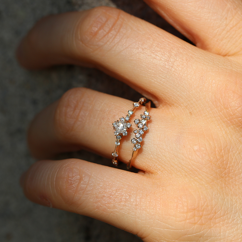 Kataoka Thin Diamond Cluster 18k Rose Gold Ring At
