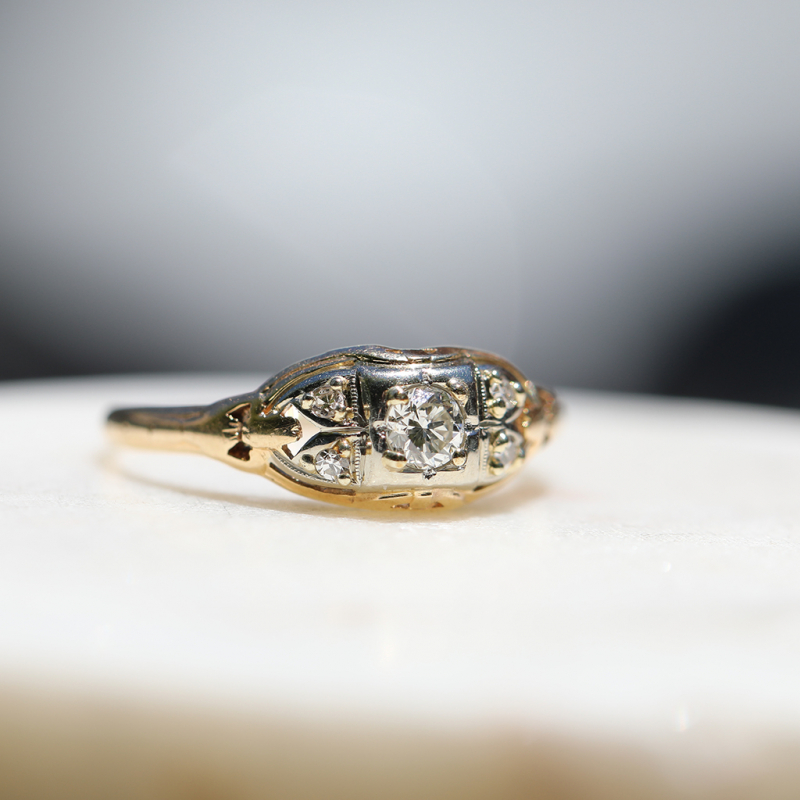 Vintage 14k Yellow Gold Diamond Ring with 18k White Gold