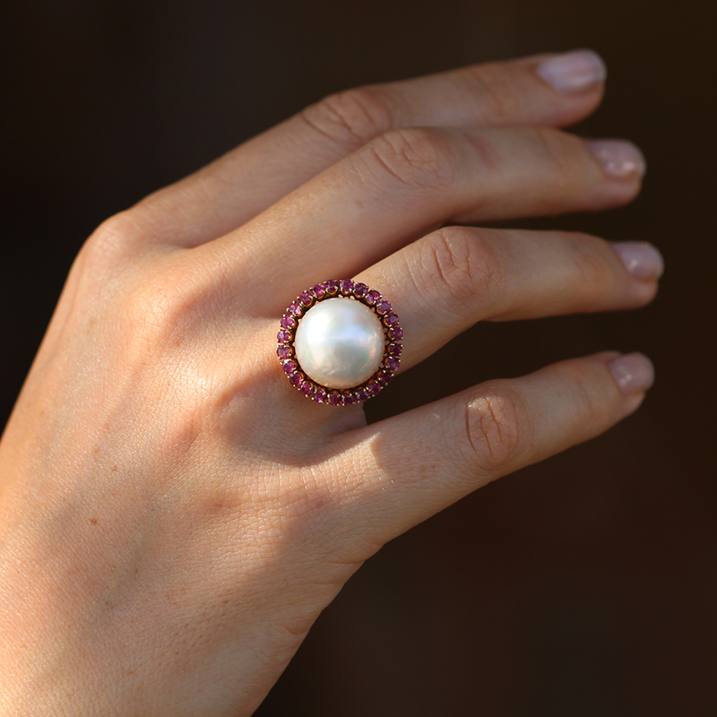 Vintage Mabe Pearl And Ruby Ring At Voiage Jewelry