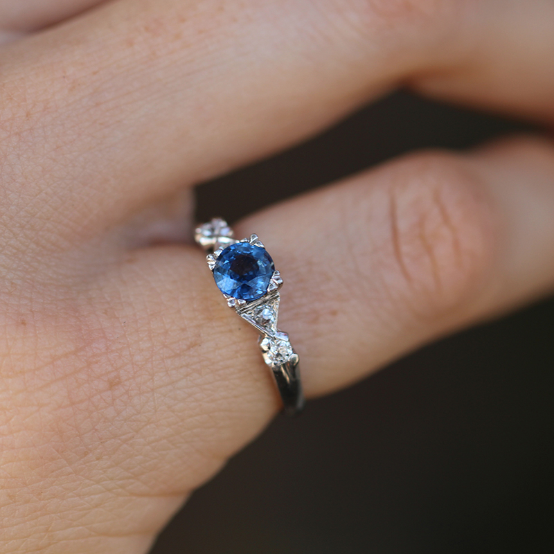 Platinum Blue Sapphire And Diamond Vintage Ring