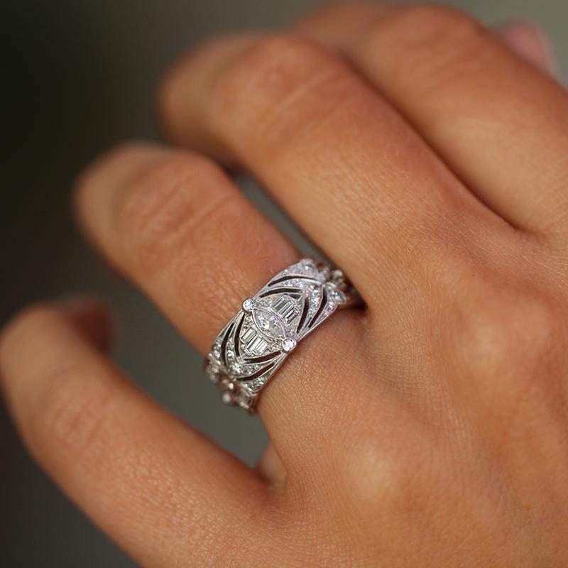 vintage unique platinum diamond wide band at voiage jewelry. Black Bedroom Furniture Sets. Home Design Ideas