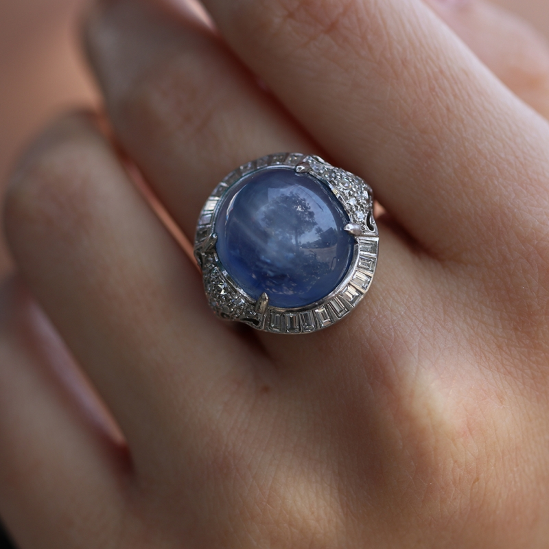 Vintage Blue Star Sapphire And Diamond Art Deco Ring At
