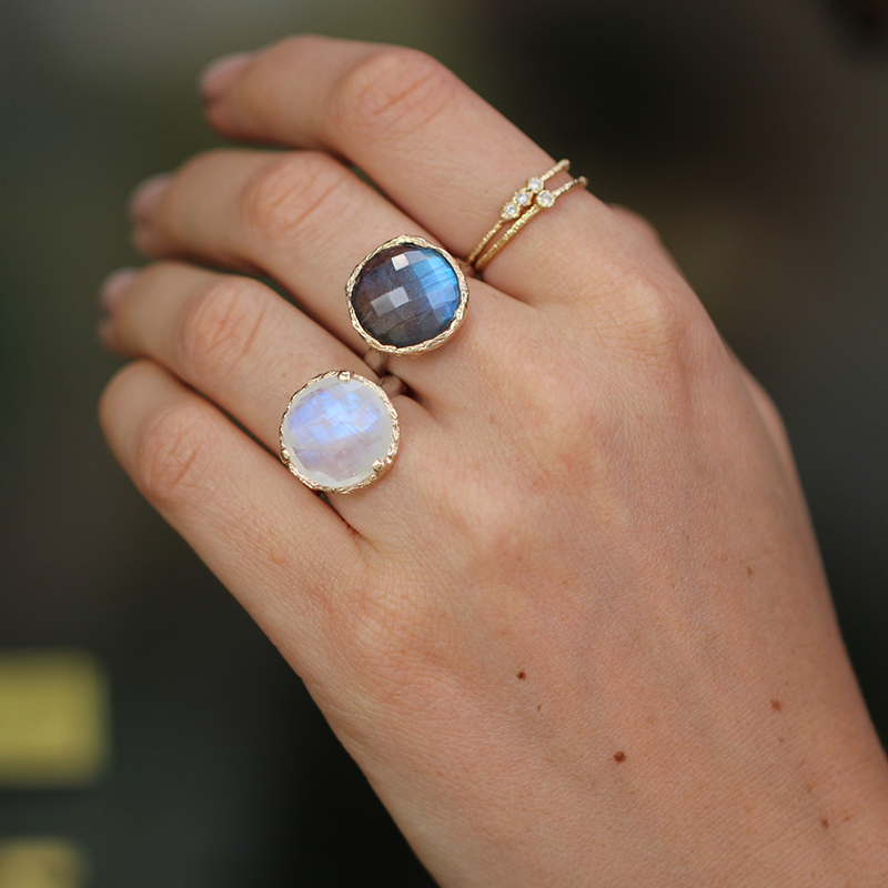 Rainbow Moonstone Silver Rings