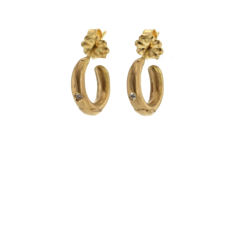Isabel Borland | Tiny Distressed Gold Hoops at Voiage Jewelry