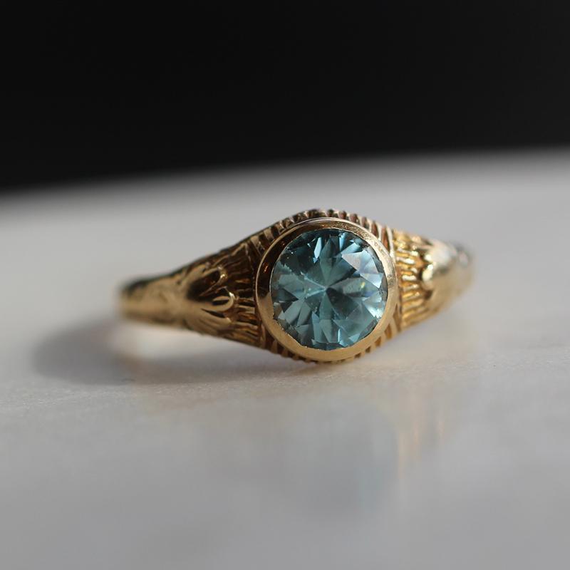 Blue Zircon Diamond Engagement Ring