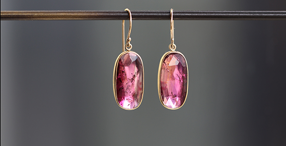 Jamie Joseph Unique Pink Tourmaline Earrings