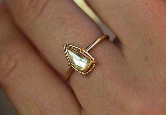 Tura Sugden Rose Cut Diamond Solitaire Gold Ring