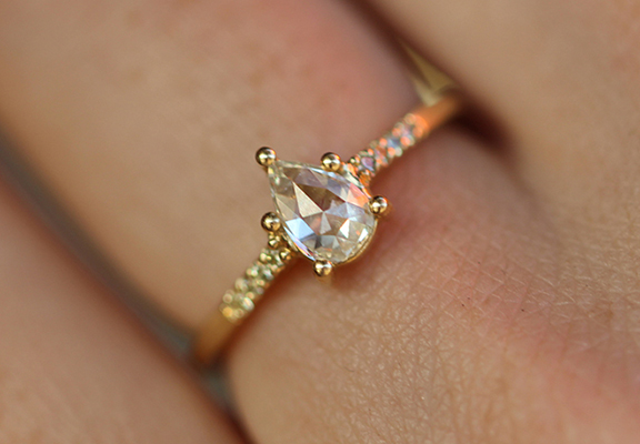 Tura Sugden Rose Cut Diamond Gold Solitaire with Pave Shoulders