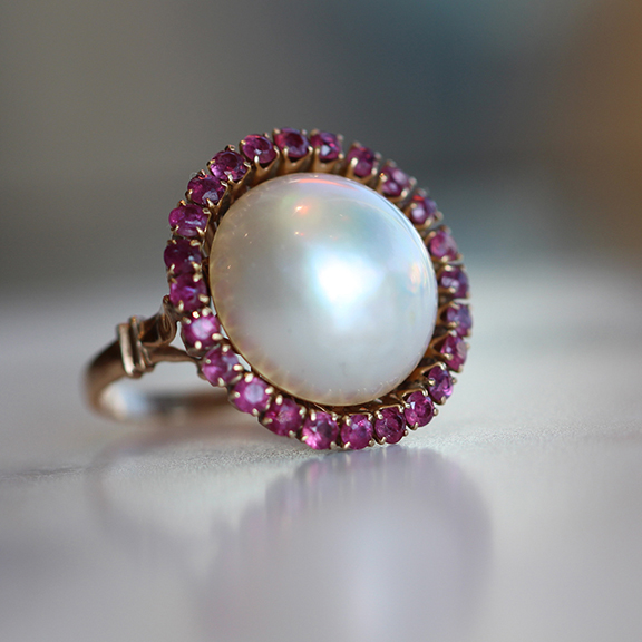 Vintage Mabe Pearl and Ruby Ring