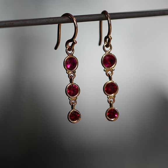 Wendy Walker Rose Gold Ruby Triple Drop Earrings